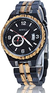 BEWELL Wood Watch Automatic for Men Mechanical Movement Wooden Wristwatches with Date Luminous Pointer Dress Timepieces