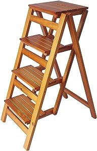 Qujifangtd Step Stool  Foldable Step Ladder Wooden Ladder Shelf Portable Household Flower Stand