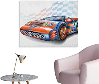 Anzhutwelve Cars Photo Wall Paper Cartoon Style Speeding Racing Car Event Championship Racetrack Victory Drive Poster Paper Orange Blue Black W36 xL24