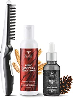 Bombay Shaving Company 3-in-1 Beard Straightener Kit With Cedarwood Beard Oil, Beard Shampoo & Conditioner & Anti-Burn Bea...