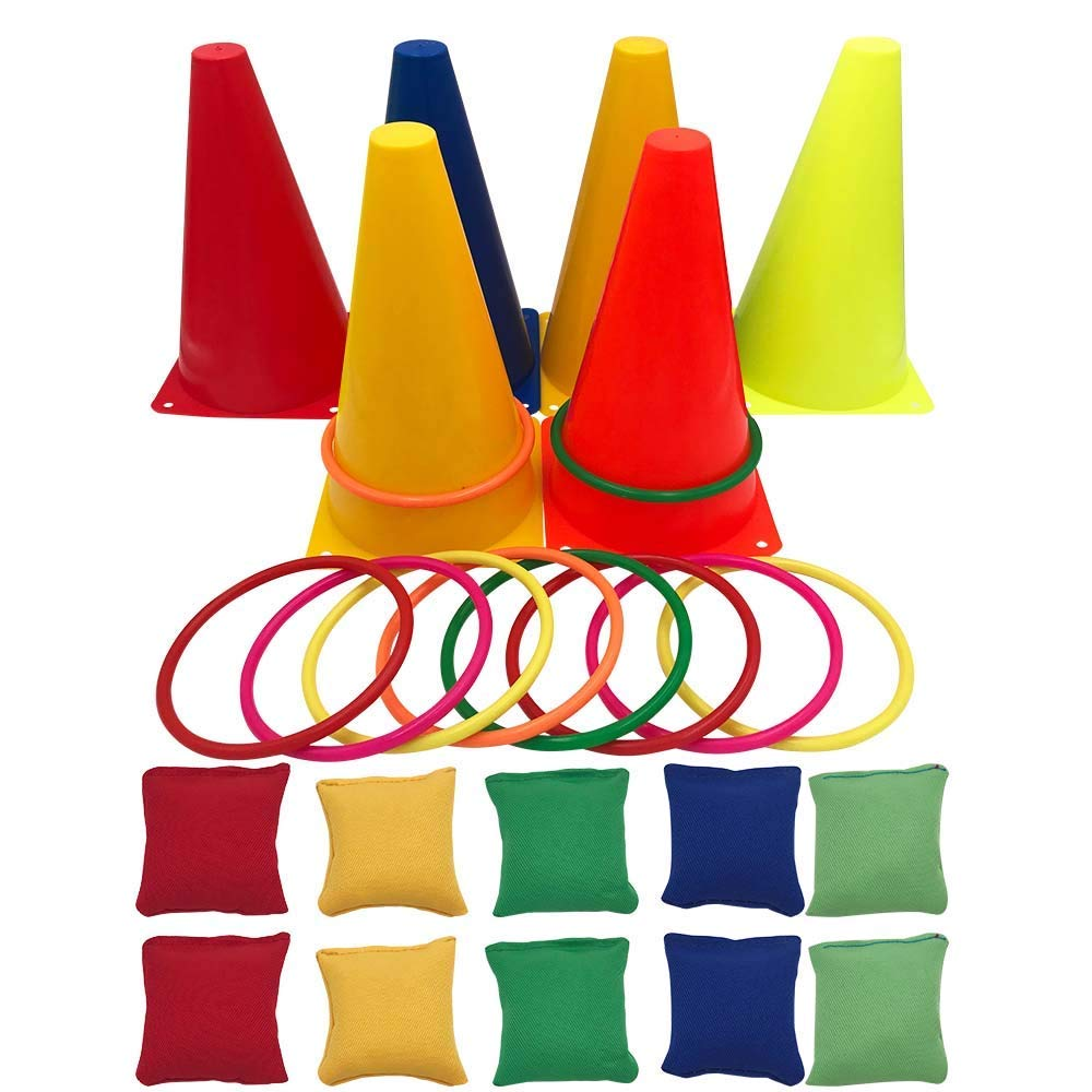 Fowecelt 3 in 1 Carnival Games Set Plastic Cone Cornhole Bean Bags Ring Toss Game for Carnival Birthday Party Indoor Outdoor Game Obstacle Course Supplies 26 Piece Set