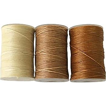 蝋引き糸 ロウ引き糸 60m よく使うナチュラルカラー3個セット ワックスコード 紐 糸 ライトナチュラル Harvestmart