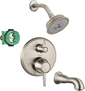Hansgrohe KST15753-04070-88BN-2 Croma C 100 Showerhead Kit with Tub Spout, Thermostatic Trim with Diverter, & Rough In Bru...