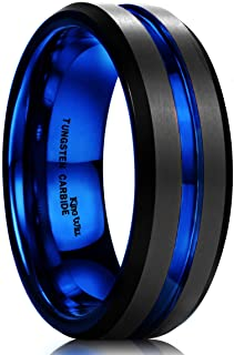 King Will Mens Black Matte Finish Tungsten Carbide Ring/Silicone Ring Set Blue Wedding Band