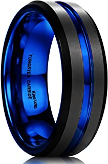 King Will Mens Black Matte Finish Tungsten Carbide/Tungsten Silicone Set Ring Blue Wedding Band