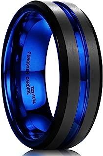 Mens Black Matte Finish Tungsten Carbide/Tungsten Silicone Set Ring Blue Wedding Band