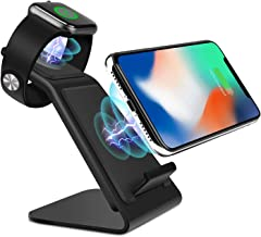 Metal Wireless Charger Stand,2-in-1 iWatch Fast Wireless Charger Station for Apple Watch 4/3/2/1 QI Wireless Charging Dock for iPhone X/XS/XSMAX/XR/8/8+,Samsung S10/S10+S9/S9+/S8/S8+/S7 (Black)