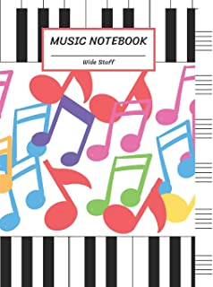 Music Notebook Wide Staff: Colorful Music Note,Piano Keyboar