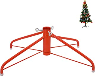 OVOV 19.7 Inch Christmas Tree Stand 4 Foot Base Iron Metal Bracket Rubber Pad with Thumb Screw (Red)