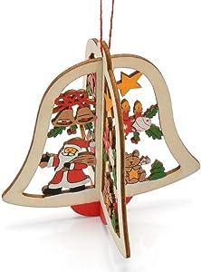 NANIH Home Navidad Colgando Adornos de Campana Hueco árbol de Madera Adornos 3 unids