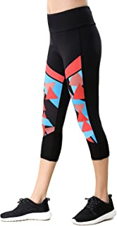 beroy Women's Active Workout 3/4 Tights Yoga Running Capri Leggings with Pocket