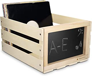 Navaris Caja de madera para almacenar discos de vinilo - Cajón para guardar vinilos con pizarra integrada - Organizador para 66 LPs