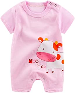 HOT!!Baby Boy Girl Cartoon Romper Cute Jumpsuit,0-24 Monthes Newborn Infant Short Sleeve Climbing Clothes (Pink, Size:3-6M)