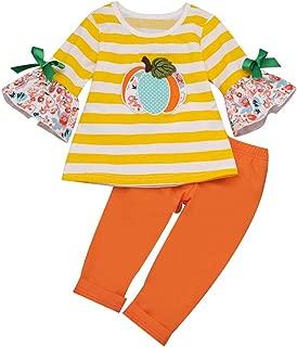 ZEFOTIM Halloween Baby Bodysuits, Toddler Baby Kids Girls Halloween Pumpkin Striped Tops Solid Pants Set Clothes