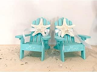 Beach Wedding Cake Topper - 2 Mini Adirondack Chairs with Natural Starfish