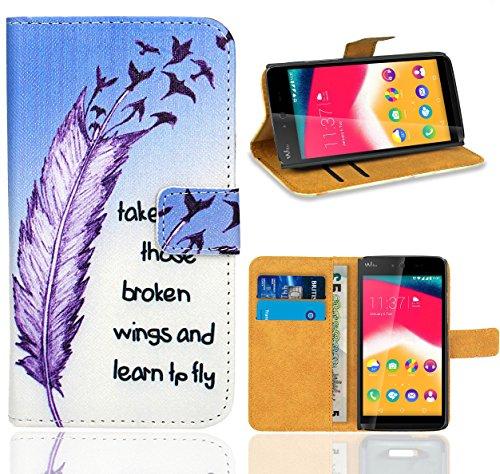 FoneExpert® Wiko Rainbow Jam Handy Tasche, Wallet Case Flip Cover Hüllen Etui Ledertasche Lederhülle Premium Schutzhülle für Wiko Rainbow Jam