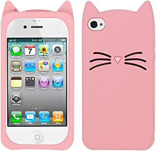 BEFOSSON Cartoon Cat Case for iPhone 4 / iPhone 4S, Cute 3D Cartoon Kitty Meow Whisker Cat iPhone 4 4S Case, Animal Soft Silicone Rubber Protective Phone Case Cover for iPhone 4 4S (Whisker Cat -Pink)