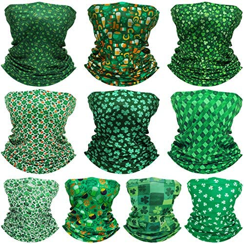 10 Pieces St Patrick s Day Neck Gaiter Balaclava Irish Bandana Headband Winter Face Covering product image