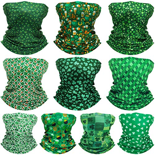 10 Pieces St Patrick#039s Day Neck Gaiter Balaclava Irish Bandana Headband Winter Face Covering Scarf for St Patrick#039s Day 2 Sizes