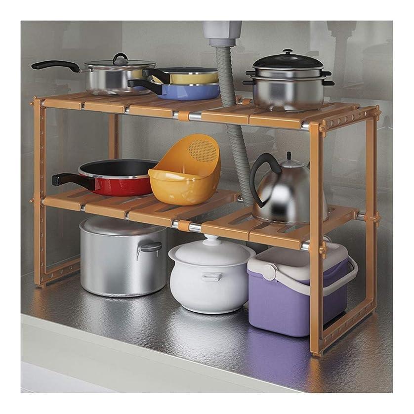 ほめる鮫面台所の流し台ラック、多機能収納ラック、格納式、二重層、カウンター下収納ラック、棚 (Color : Gold)