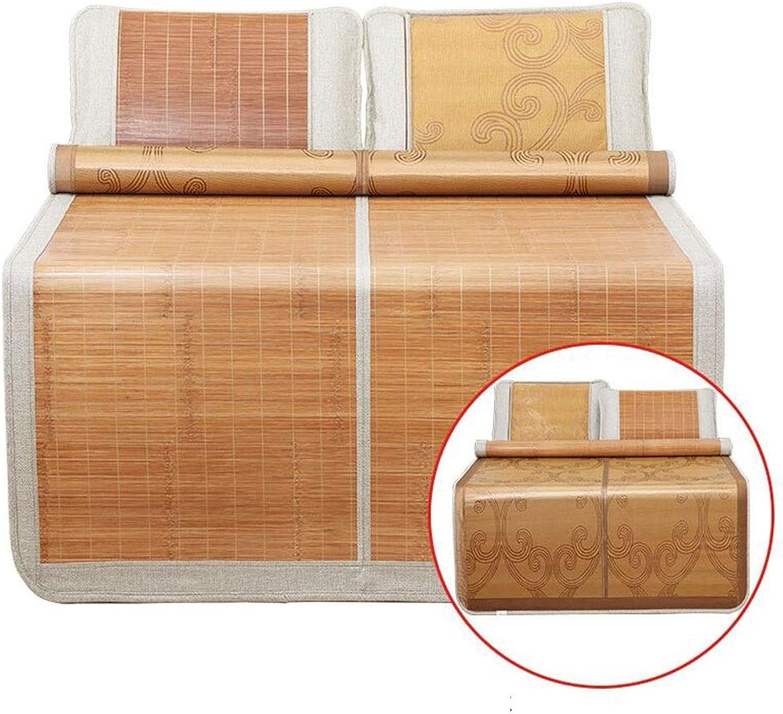 Mattresses Bamboo Mat Summer Cool Bamboo Ice Silk Mat Winter Bamboo Folding Double-Sided Ice Silk Mat Family Dormitory Mat Tatami Double Bamboo Mat (color   Brown, Size   1.5  1.8m)