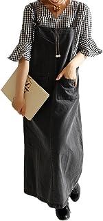 (sawa a la mode)サワアラモード レディース デニム ジーンズ サロペット ジャンパースカート 体系カバー ワンピース オーバーオール オールインワン mode-0381 F ブラック