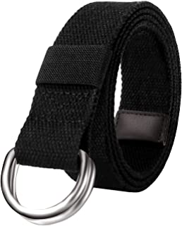 Mens & Womens Canvas Belt with Black D-ring Wide Extra Long Solid Color 1.5