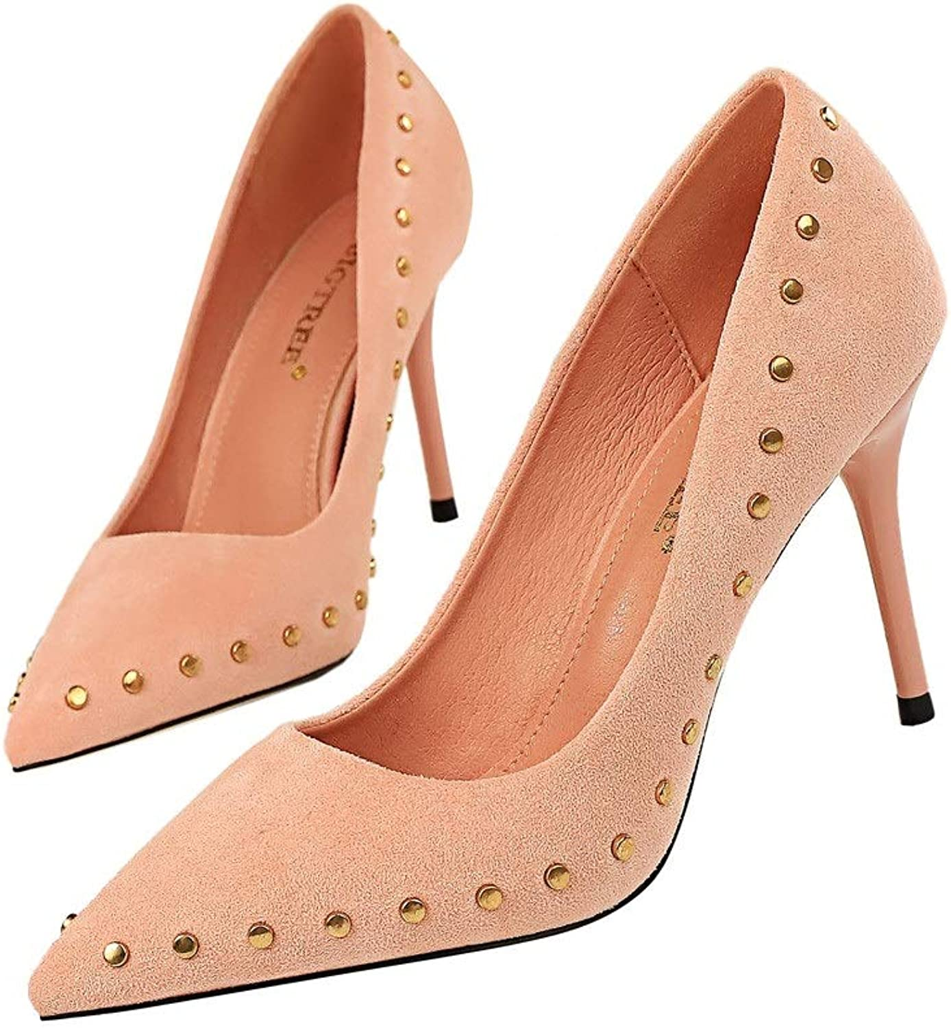 Pointed Stiletto Closure High Heels Sexy Vintage Suede Studded shoes For Wedding Party Formal Occasions (9Cm)