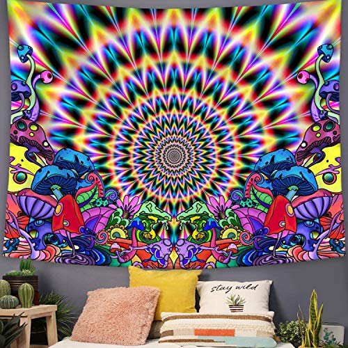 Lifeel Psychedelic Tapestry, Abstract Trippy Mushroom Tapestries Colorful Mandala Tapestry Hippie Wall Decor for Room 50×60 inch