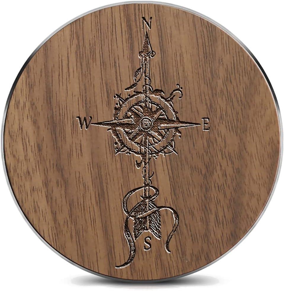 Wooden Laser Virginia Beach Mall Engraved Retro Compass Symbol Chargi Latest item Arrow Wireless