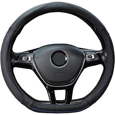 【Amazon限定ブランド】 ZATOOTO ハンドルカバー 軽自動車 Sサイズ Dシェイプ グリップ感 滑り止め カラーライン 柔らかい PUレザー 手触りよく セレナ スイフトなど用 ステアリングカバー ブルーライン LY128-LX