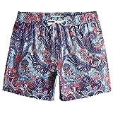 MaaMgic Shorts de Baño para Hombre Shorts de Playa Traje de Bañode 4-Way Stretch Secado Rápido para Vacaciones-14 cm, Paisley Azul Violeta,L