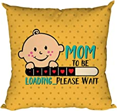 YaYa cafe for Mom to Be Printed Cotton Cushion Cover (12x12 inches, Yellow)
