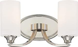 Minka Lavery Wall Light Fixtures 3982-613 Tilbury Wall Bath Vanity Lighting, 2-Light 200 Watts, Polished Nickel