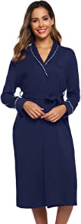 Zexxxy Women Kimono Robe Cotton Long Robe Bathrobe Sleepwear Ladies V-Neck Loungewear S-XXL