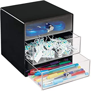 mDesign Plastic Home Office 3 Drawer Cube Storage Organizer - Desktop Organization for Office Supplies, Gel Pens, Pencils, Markers, Tape, Erasers, Paperclips, Chargers - Black/Clear
