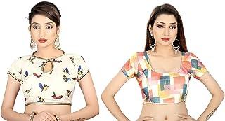Ocean Fashion Women's Printed Satin Silk Readymade Sarees Blouses