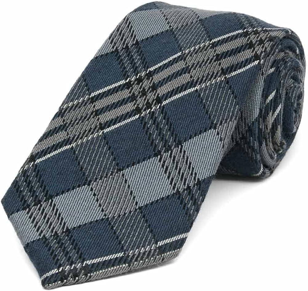 TieMart Regent Morris Neckwear Muted Blue and Gray Principal Plaid Wool/Silk Necktie, 3