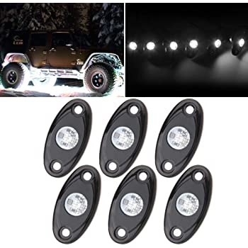 White LED Rock Lights Kits with 6 pods Lights for JEEP Off Road Truck Car ATV SUV Motorcycle Under Body Glow Light Lamp Trail Fender Lighting (White)