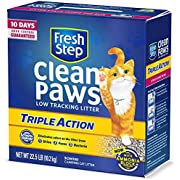 Fresh Step Clean Paws Triple Action Cat Litter, Low Track, Scented, Low Dust, 22.5 Lb
