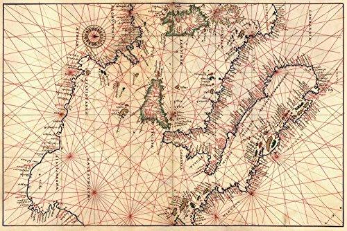 AFDRUKKEN-op-GEROLDE-CANVAS-Portolan-Kaart-van-Italië,-Sicilië,-Noord-Afrika-en-het-Middellandse-Zeegebied-Agnese-Battista-Kaarten-Afbeelding-gedruckt-op-c-Afmeting-60_X_91_cm