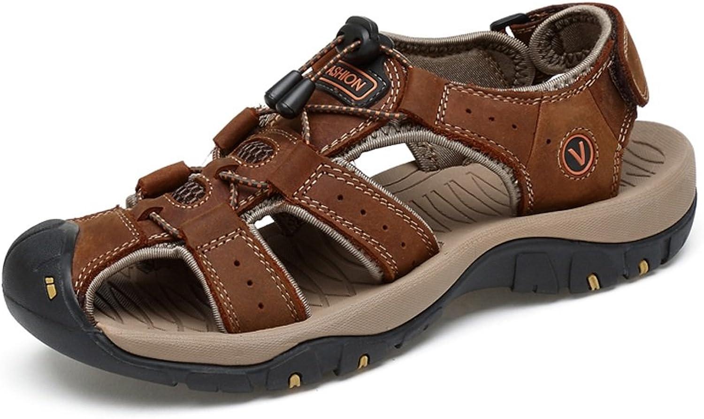 JIALUN-Sandals Comfortable Men's Beach Sandals Genuine Leather Criss Cross Lacing Non-Slip Strong Outsole shoes