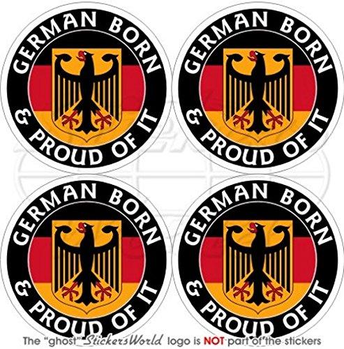 Deutschland Deutsch Born & Stolz Deutschland 50mm (5,1cm) Vinyl bumper-helmet Sticker, Aufkleber X4