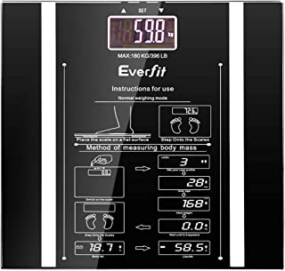 Everfit Electronic Scale Digital Bathroom Body Fat Scales 5KG-180KG Capacity BMI Weight, Water, Fat Measurement Step-on Te...