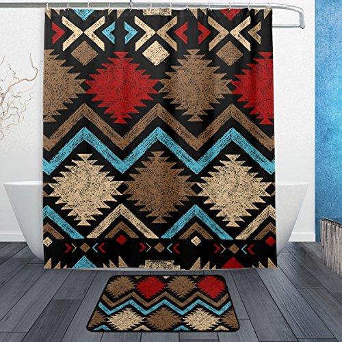 jstel Vintage Afrikanische Kunst 3-teiliges Badezimmer Set, maschinenwaschbar für den täglichen Gebrauch, inkl. 152,4x 182,9cm Wasserdicht Duschvorhang, 12Dusche Haken und 1rutschfeste Badezimmer Teppich Carpet–Set von 3