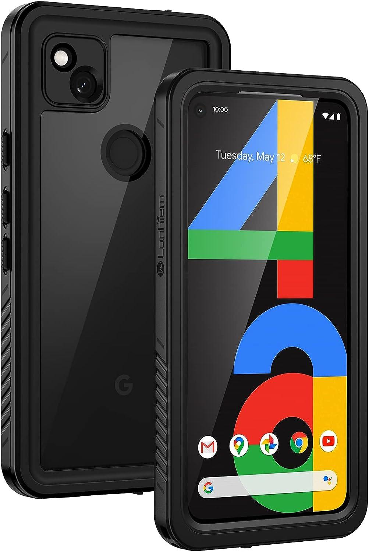 Lanhiem Funda Impermeable Google Pixel 4a, Carcasa Sumergible Resistente Al Agua IP68 Certificado [Protección de 360 Grados], Carcasa para Google Pixel 4a con Protector de Pantalla Incorporado