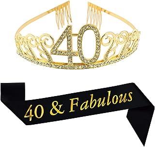 40th Birthday Gold Tiara and Sash, Glitter Satin Sash