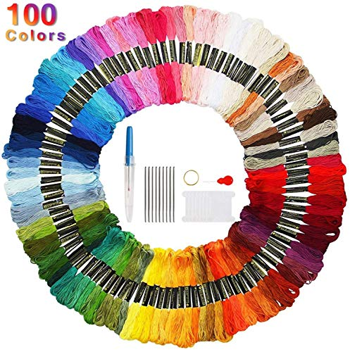 Faminess 100 Madejas Bordado Hilos de Aleatorio Colores Algodón Bordado Kit para Costura Punto de Cruz