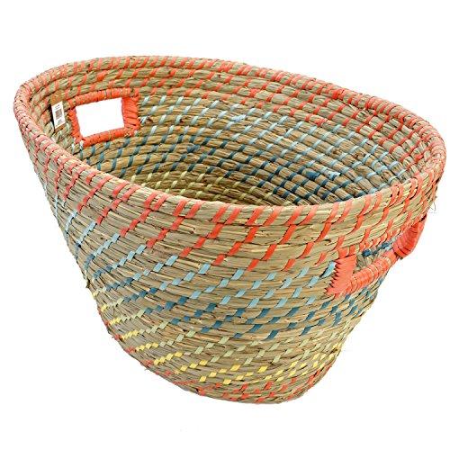 Roomando Seegras Körbe Korb Aufbewahrungskorb Seegraskorb Tragekorb Wäschekorb (rot oval mit Tragegriff)