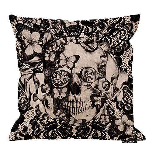 HGOD DESIGNS Cotton Linen Sofa Chair Square Throw Pillow Case Decorative Cushion Cover Pillowcase Victorian Gothic Lace Skull Pillow Cover Double Side 18X18 Inches
